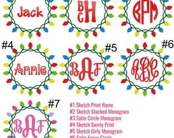 Christmas Lights Wreath Embroidery, Christmas Light Wreath Monogram, Christmas Wreath