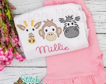 Zoo Trio Sketch Embroidery Top and Shorts Set, Zoo Shirt