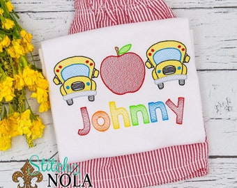 Apple School Bus Trio School Personalized Top and Shorts Set, Back to School Outfit, Embroidery, Pre-School Outfit, Kindergarten Shirt