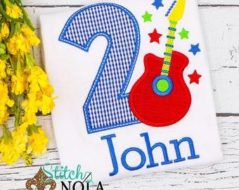 Rockstar Birthday Applique, Rockstar Birthday, Guitar Birthday Applique, Music Applique