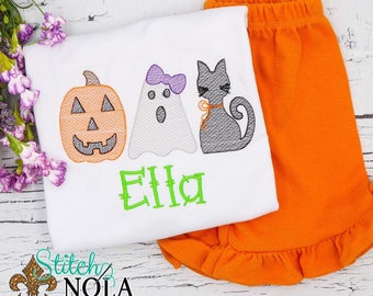 Girls Halloween Outfit, Pumkin, Ghost and Cat Sket Shirt, Girls Halloween Shirt and Shorts Set