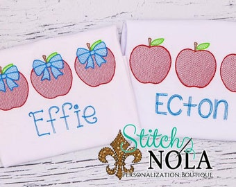 Apple Sketch Trio Personalized, Back to School Outfit, Apple Embroidery, Pre-School Outfit, Kindergarten Shirt