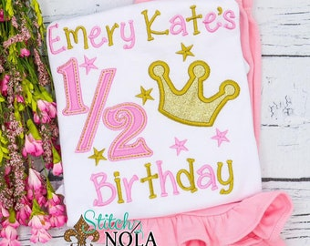 Girls Half Birthday Pink and Gold Crown Birthday Shirt and Shorts, Half Birthday Outfit, Girls Birthday Outfit