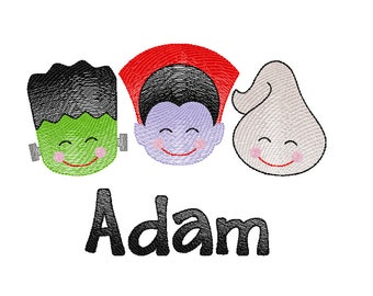 Halloween Trio Sketch Embroidery, Vintage Frankenstein, Ghost, Dracula, Vintage Halloween Trio