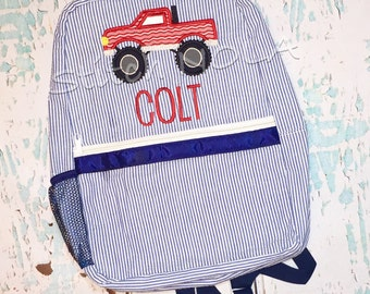 Seersucker Backpack with Monster Truck, Seersucker Diaper Bag, Seersucker School Bag, Seersucker Bag, Diaper Bag, School Bag, Book Bag, Back