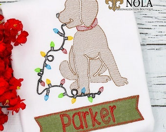 Christmas Lights Dog Sketch Embroidery with Name Patch, Christmas Lights Dog Sketch Embroidery, Christmas Shirt, Christmas Lights Dog