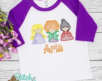 Personalized Halloween Top,  Shirt, Witch Trio Shirt Witch Trio Embroidery, Halloween Shirt