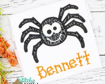 Spider appliqué, spider shirt, Halloween shirt, girl spider, boy spider