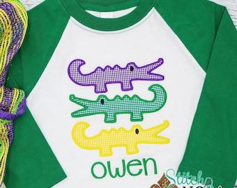 Mardi Gras Gator Trio Applique, Mardi Gras Alligators Applique, Purple Green And Gold, Mardi Gras Applique, Mardi Gras Outfit