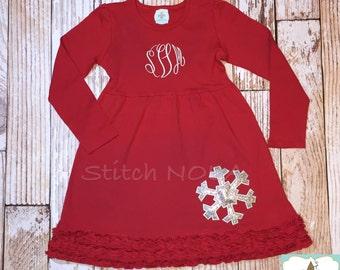 Glitter Snowflake Long Sleeved Red Ruffle Dress