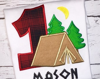 Camping Tent Birthday Shirt or Bodysuit