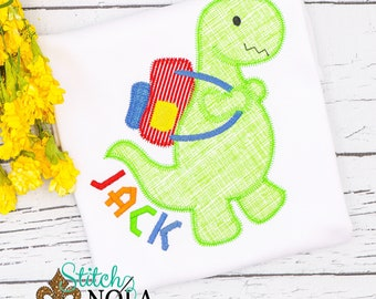 Dinosaur with Back Pack Applique, Back to School Shirt, Monogrammed Back to School Shirt, Personalized Back to School