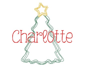 Christmas Tree Scribble Embroidery Design, Christmas Tree Embroidery, Vintage Christmas Tree, Christmas Shirt