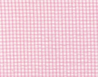 Pink Check Seersucker Fabric, Fabric Finders, 100% Cotton, Pink Check