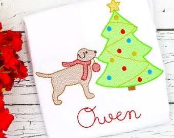 Dog Decorating Tree Sketch Embroidery, Dog Christmas Embroidery, Christmas with Dog Embroidery