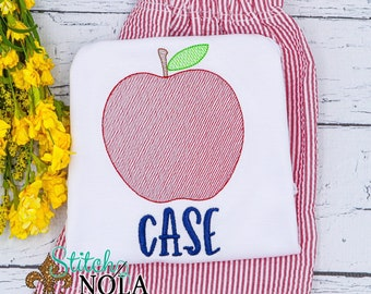 Apple Sketch Personalized Top and Shorts Set, Back to School Outfit,  Embroidery, Pre-School Outfit, Kindergarten Shirt