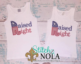 Raised Right Republican Themed Tee, Bodysuit, Bubble, Romper or Gown