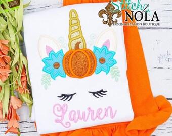 Unicorn Pumpkin Applique Shirt and Shorts Set, Unicorn Fall Shirt, Pumpkin Unicorn Outfit, Girls Fall Set