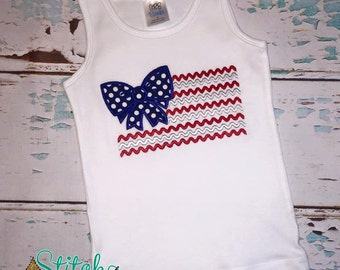 American Flag with Bow Tee, Tank, Bodysuit, Bubble or Gown