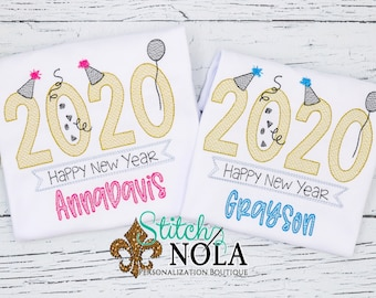 New Year's Eve Sketch Embroidery, New Year Sketch Embroidery, New Year Shirt, New Year's Eve Shirt