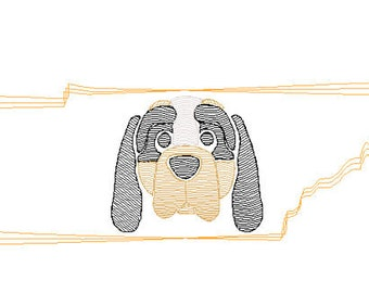 Hound Football Sketch Embroidery, Tennessee Football