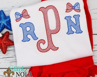 Patriotic Monogram with Bow Top and Shorts Set, Patriotic Fourth of July, Independence Day