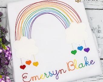 Rainbow Applique, Rainbow with Hearts Applique, Rainbow Birthday Applique, Rainbow Shirt
