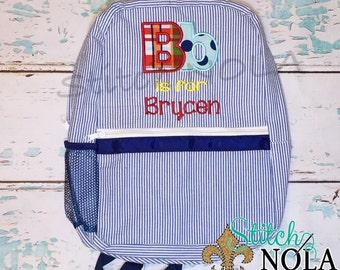 Seersucker Backpack with Letter Applique in Madras Plaid, Seersucker Diaper Bag, Seersucker School Bag, Seersucker Bag, Diaper Bag, School B