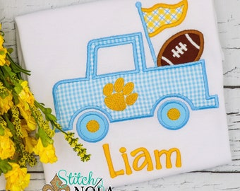 Blue & Gold Paw Truck with Football T-Shirt or Bodysuit