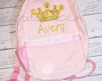 Gold Princess Crown Seersucker Backpack/Diaper Bag, Seersucker Diaper Bag, Seersucker School Bag, Seersucker Bag, Diaper Bag, School Bag, Bo