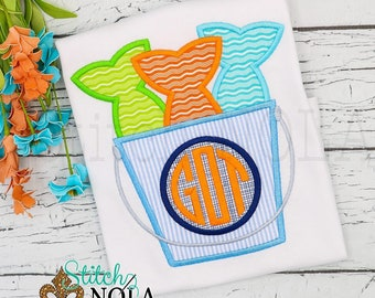 Fishing Bucket Monogram Applique, Fishing Applique, Fishing Shirt, Fishing Tee, Spring Applique, Summer Applique