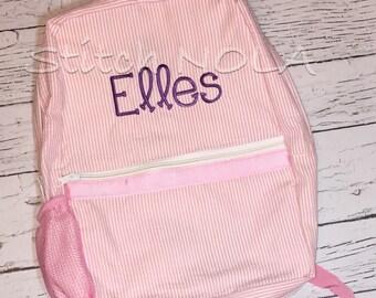 Seersucker Backpack with Name or Monogram, Seersucker Diaper Bag, Seersucker School Bag, Seersucker Bag, Diaper Bag, School Bag, Book Bag, B