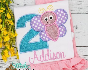 Butterfly Birthday Applique Shorts Set, Butterfly Birthday Applique