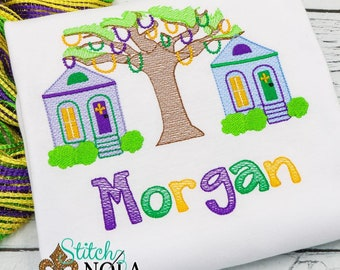 Mardi Gras Bead Tree with Shotgun Houses Sketch Embroidery, Mardi Gras Bead Tree Sketch Embroidery, Bead Tree, Mardi Gras Shirt