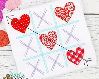 Tic Tac Toe Hearts Applique, Valentines Day Appliqué