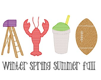 Louisiana Seasons Sketch Embroidery, Winter, Spring. Summer. Fall, Mardi Gras, Football, Crawfish, Snowball, Snoball