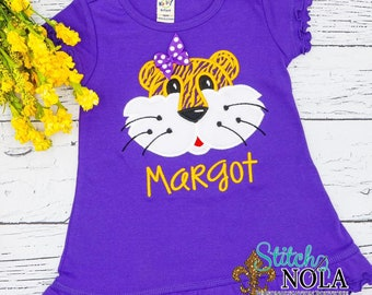 Personalized Tiger Dress Applique, Purple and Gold Tiger Dress, Monogrammed Tiger Dress, Purple and Gold Girl Tiger Dress