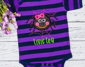Spider Applique, Spider Shirt, Halloween Shirt, Girl Spider Shirt