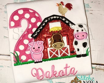 Barn Birthday Shirt, Barn birthday Applique, Farm Birthday Shirt, Farm Applique, Barn Applique