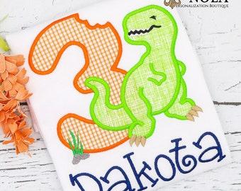 Dinosaur Birthday Applique, T-Rex Applique, Dinosaur Applique, Dinosaur Birthday