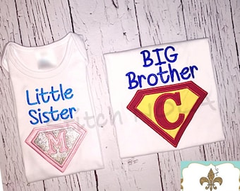 Super Hero BIG/LIL Sister/BROTHER Shirt or Bodysuit
