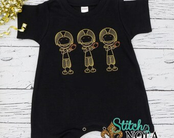 Football Sketch Outfit, Football Trio Sketch Embroidery, Black and Gold Football Trio