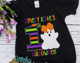 Personalized 1st Halloween Applique, First Halloween Appliqué Shirt, Ghost Shirt, Ghost Appliqué, Halloween Applique, Baby's 1st Halloween