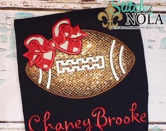 Glitter Football with Bow Black Puff Sleeve Shirt