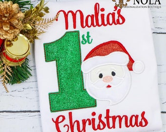 1st Christmas With Santa Applique, Santa Claus Applique, First Christmas Applique, Christmas Shirt