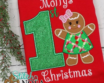 First Christmas Gingerbread Applique, Boy Gingerbread Applique, Girl Gingerbread Applique, Christmas Applique, Christmas Shirt, XMAS Pics
