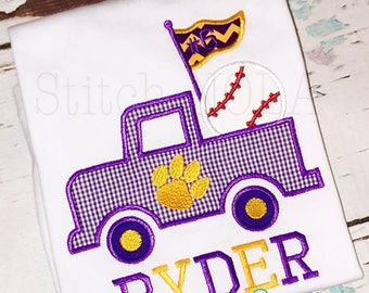 Purple and Gold Baseball Truck, Baseball Birthday Truck, Baseball Birthday, Baseball Applique, Birthday Shirt