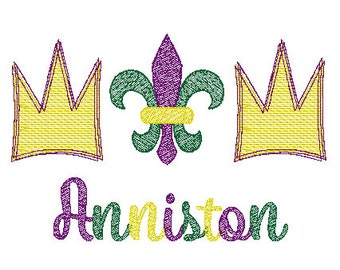 Mardi Gras Fleur de lis and Crown Trio Sketch Embroidery, Mardi Gras  Sketch Embroidery,  Mardi Gras Shirt