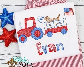 Patriotic Tractor with Lab Top and Shorts Set, Patriotic Tractor with Lab Applique, Tractor Applique, Fourth of July, Independence Day