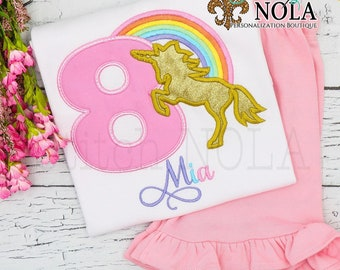 Unicorn Rainbow Shirt and Shorts Set, Unicorn Birthday Shirt, Rainbow Birthday Shirt, Magical Birthday